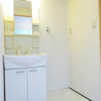 その後ろには洗面台と洗濯機置き場が。(※写真は4階の反転間取り別部屋のものです)