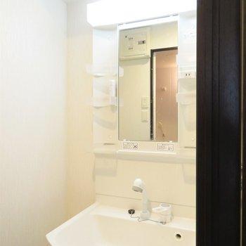 収納たくさんの洗面台(※写真は3階の反転似た間取り別部屋のものです)