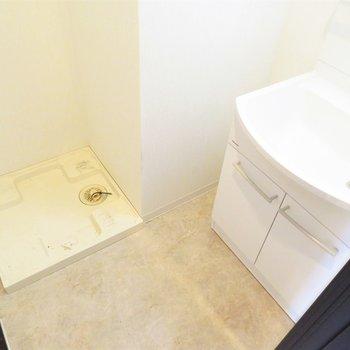 洗面脱衣所も完備です(※写真は3階の反転似た間取り別部屋のものです)
