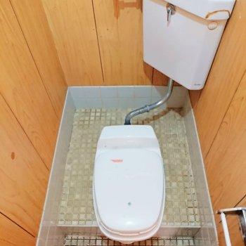 トイレは昔風ですが、水洗ですよ。※写真はクリーニング前のものです
