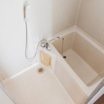 お風呂もシンプルです。ラックを用意しましょう。