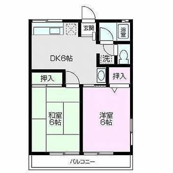和室がある2DKタイプのお部屋です