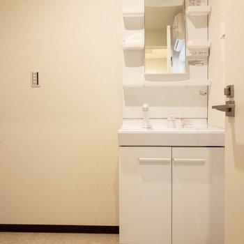 洗面台は収納が多くて使いやすそう。