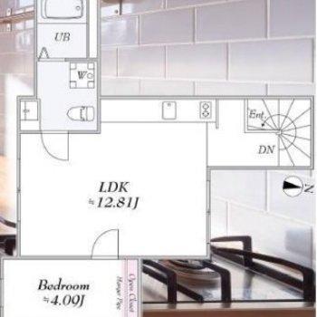 居住スペース広々な個性的な間取り。