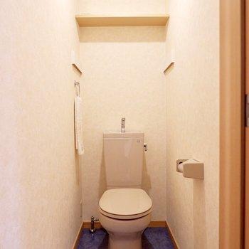 お手洗いも青い床。なんだか落ち着きそうです。※家具・雑貨はサンプルです