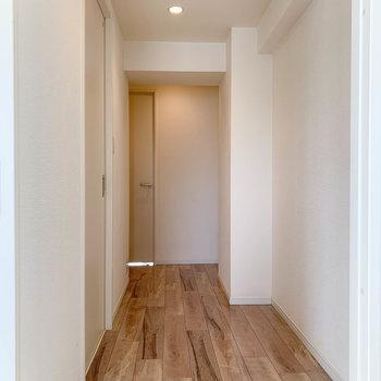 さて、広めの廊下です。壁沿いに本棚とか置けそう。