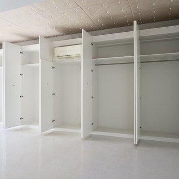 【洋室】右の2つにはハンガーパイプ、左の2つには棚がついています