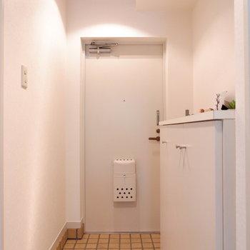 玄関もタイル張りで素敵に。汚れも拭き取りやすいですね。※家具はサンプルです