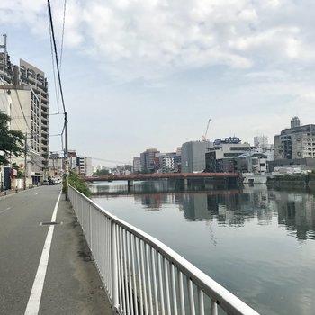 マンションの前には那珂川が流れます。博多へも天神へも便利な場所なんです。