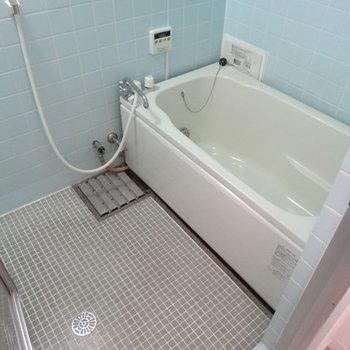 お風呂は広さは十分だけど、床がタイルなので冬場は少し寒いかも?お湯をかけたり工夫してね!