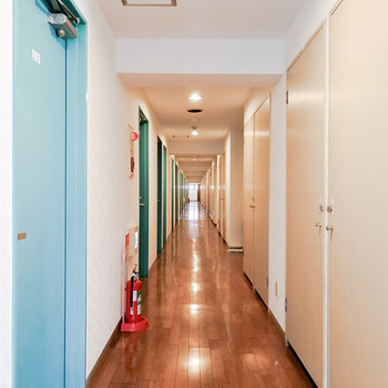 扉の色が印象的な共用廊下。