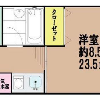 程よい広さの1Kのお部屋!(※反転間取り図です)