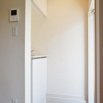 玄関、シューズボックスは小さめ※写真は1階の同間取り別部屋のものです