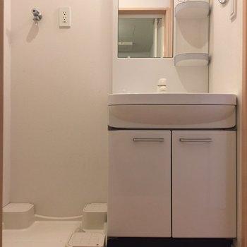 独立洗面台の横に洗濯機置場が。