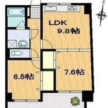 収納も豊富な2LDKのお部屋です