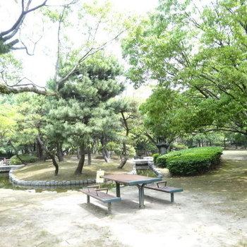 日本庭園のような場所も。休みの日はこの椅子でブランチを!