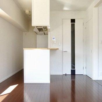 カウンター付キッチン!(※写真は5階の同間取り、清掃前の別部屋です)