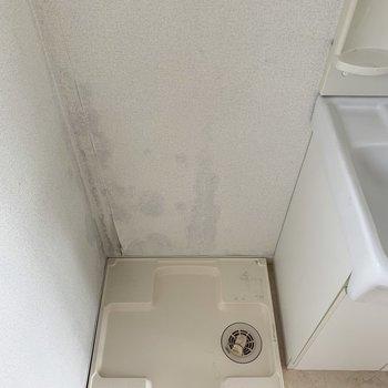 その隣には洗濯パン(※写真は4階の同間取り別部屋、清掃前のものです)