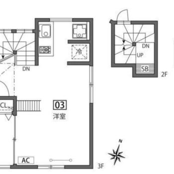 3階のお部屋。玄関は1階です。