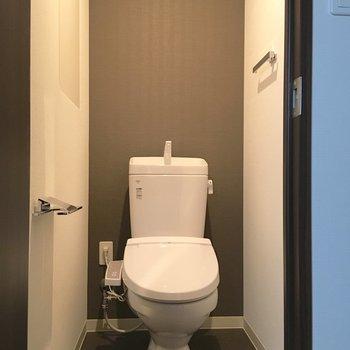 トイレは個室。左の壁に収納あります。備品はこちらに。※写真は5階の同間取り別部屋のものです
