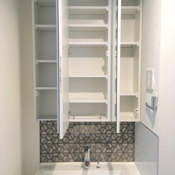 鏡の裏は収納に。※写真は5階の反転間取り別部屋のものです