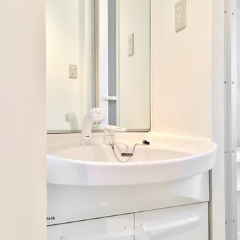 大きな鏡のあるシャンプードレッサー。(※写真は5階の同間取り別部屋のものです)