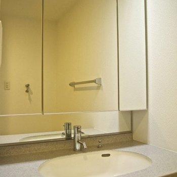 洗面台です、大きな鏡が特徴的(※写真は9階の同間取り別部屋のものです)
