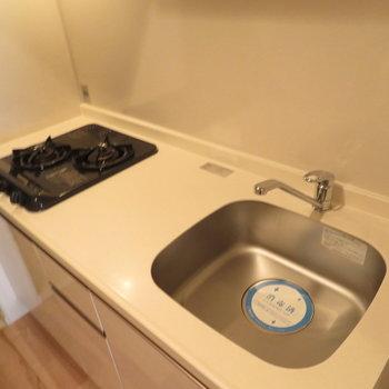 2口コンロのシステムキッチンです(※写真は13階の同間取り別部屋のものです)