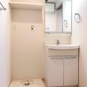 脱衣所には、洗濯機置き場と洗面台。