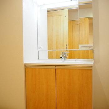 大きい鏡の独立洗面台!※写真は前回募集時のものです