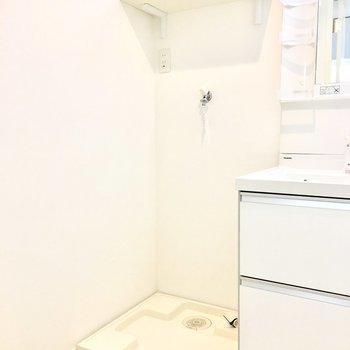 付属の棚には洗剤やタオルなどを。(※写真は2階の反転間取り別部屋のものです)