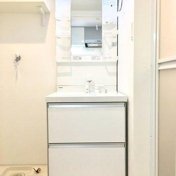 洗面台は収納たっぷり。(※写真は2階の反転間取り別部屋のものです)