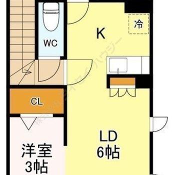 南西にバルコニー、南東に小窓のある1LDK。 玄関・浴室にも窓あり。