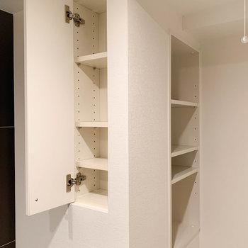 上段部分に、洗剤などが収納できる。