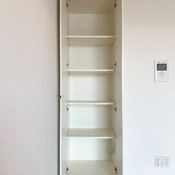 お部屋側の収納棚です。本棚にしても良さげ〜