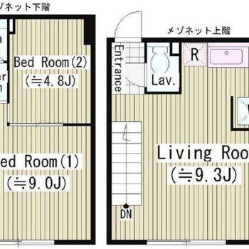 2階建て・メゾネットのお部屋です