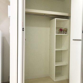 洋室ドア手前の収納。棚には小物を入れて整理できそう。