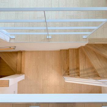 ロフトから下を見て見ました。階段を中心にお部屋が分かれていきます。※写真は2階の同間取り別部屋のものです