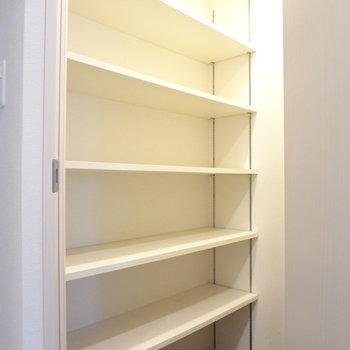 横にはこんなひろい収納スペースが!(※写真は7階の同間取り別部屋のものです)