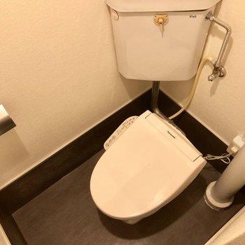 トイレは少しレトロですが、ウォシュレット付いています。(※写真は清掃前のものです)