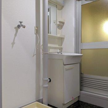 脱衣所に洗濯パンと独立洗面台