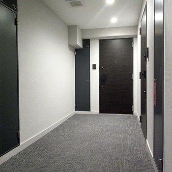 ホテルのようなカーペットの共用廊下。