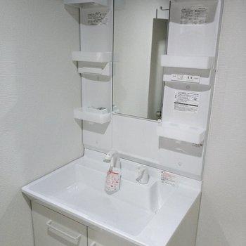 洗面ボウル深めで顔も洗いやすそうな洗面台。