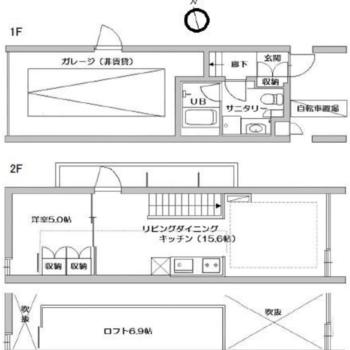 1階にサニタリーがまとまっているメゾネットタイプの最上階のお部屋。上下階を気にすることなく過ごせます。