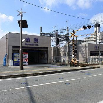 紫駅はこじんまりと。お隣の二日市駅は特急が停まるので便利です♩