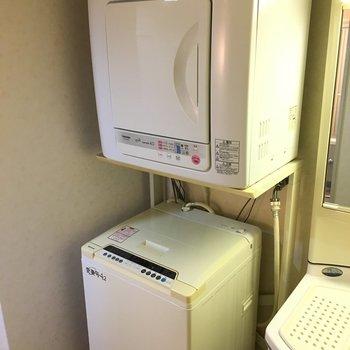 洗面台のすぐ横に、洗濯機と乾燥機がありました