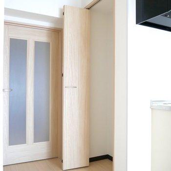 キッチン横に収納スペースを発見!クローゼットなのでなんでもいけそう〜!