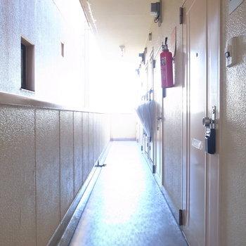 【共用部】廊下は建物に面しています。