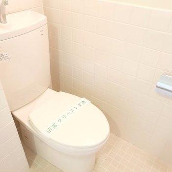 ころんとしたトイレまわり※写真は7階の同間取り別部屋のものです