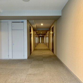 9階共用部。ホテルみたいな雰囲気です。